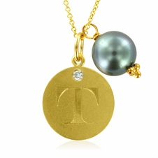 Initial Necklace, Letter T Diamond Pendant with a Pearl Charm in 18k Yellow Gold