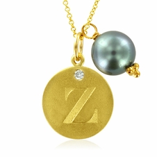 Initial Necklace, Letter Z Diamond Pendant with a Pearl Charm in 18k Yellow Gold