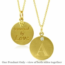 Initial Necklace, Letter A Diamond Pendant with 18k Yellow Gold Chain Necklace