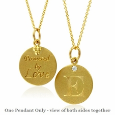 Initial Necklace, Letter E Diamond Pendant with 18k Yellow Gold Chain Necklace