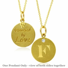 Initial Necklace, Letter F Diamond Pendant with 18k Yellow Gold Chain Necklace