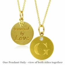Initial Necklace, Letter G Diamond Pendant with 18k Yellow Gold Chain Necklace