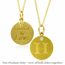 Initial Necklace, Letter H Diamond Pendant with 18k Yellow Gold Chain Necklace