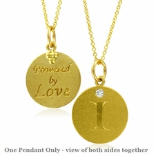 Initial Necklace, Letter I Diamond Pendant with 18k Yellow Gold Chain Necklace
