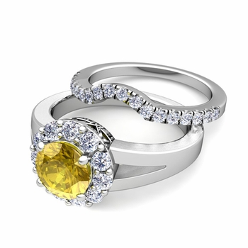 Radiant Diamond and Yellow Sapphire Halo Engagement Ring Bridal Set in Platinum, 7mm