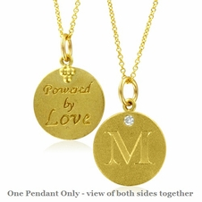 Initial Necklace, Letter M Diamond Pendant with 18k Yellow Gold Chain Necklace
