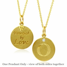 Initial Necklace, Letter O Diamond Pendant with 18k Yellow Gold Chain Necklace