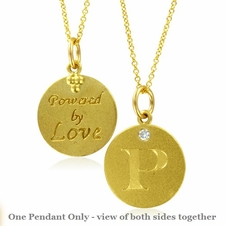 Initial Necklace, Letter P Diamond Pendant with 18k Yellow Gold Chain Necklace