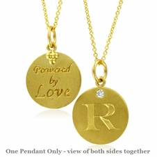 Initial Necklace, Letter R Diamond Pendant with 18k Yellow Gold Chain Necklace