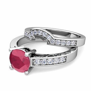 Pave Diamond and Solitaire Ruby Engagement Ring Bridal Set in 14k Gold, 5mm