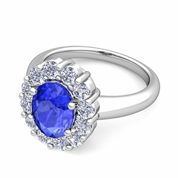 Halo Diamond and Ceylon Sapphire Diana Ring in Platinum, 7x5mm