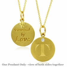 Initial Necklace, Letter T Diamond Pendant with 18k Yellow Gold Chain Necklace
