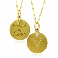 Initial Necklace, Letter V Diamond Pendant with 18k Yellow Gold Chain Necklace