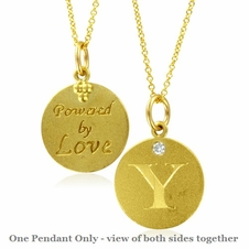 Initial Necklace, Letter Y Diamond Pendant with 18k Yellow Gold Chain Necklace
