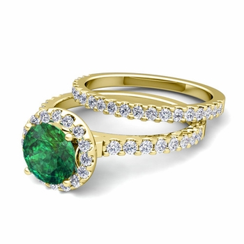 Bridal Set: Pave Diamond and Emerald Engagement Wedding Ring in 18k Gold, 7mm