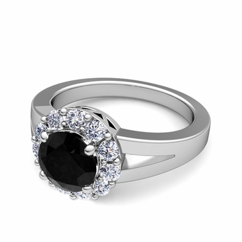 Black and White Diamond Halo Engagement Ring in 14k Gold, 7mm