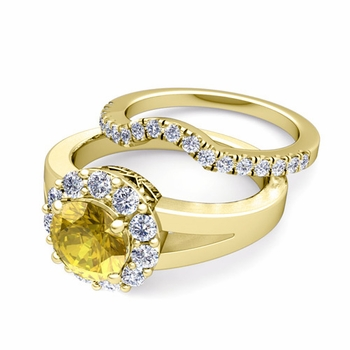 Radiant Diamond and Yellow Sapphire Halo Engagement Ring Bridal Set in 18k Gold, 7mm