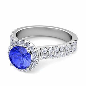 Two Row Diamond and Ceylon Sapphire Engagement Ring in 14k Gold, 7mm