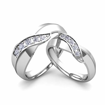 Matching Wedding Band in Platinum Infinity Diamond Wedding Rings