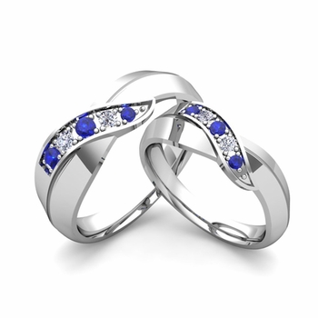 Matching Wedding Band in Platinum Infinity Diamond and Sapphire Wedding Rings