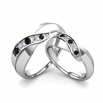 Matching Wedding Band in 14k Gold Infinity Black and White Diamond Wedding Rings