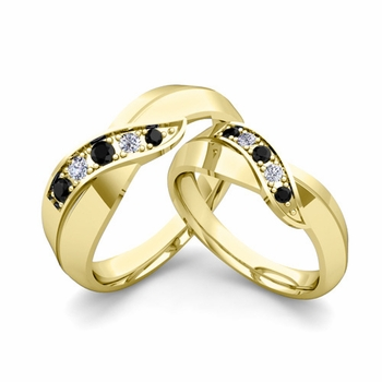 Matching Wedding Band in 18k Gold Infinity Black and White Diamond Wedding Rings