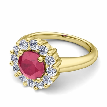 Ruby and Halo Diamond Engagement Ring in 18k Gold, 6mm