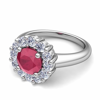 Ruby and Halo Diamond Engagement Ring in Platinum, 6mm