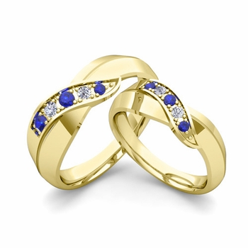 Matching Wedding Band in 18k Gold Infinity Diamond and Sapphire Wedding Rings