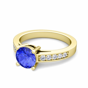 Pave Diamond and Solitaire Ceylon Sapphire Engagement Ring in 18k Gold, 7mm