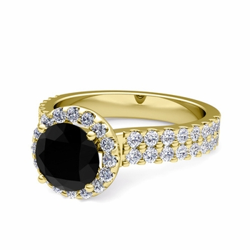 Two Row Black and White Diamond Engagement Ring in 18k Gold, 7mm