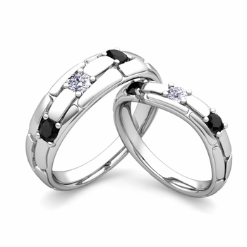 Matching Wedding Band: His and Hers Black and White Diamond Ring in 14k Gold