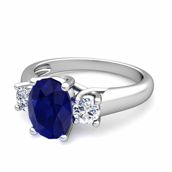 Classic Diamond and Blue Sapphire Three Stone Ring in Platinum, 9x7mm