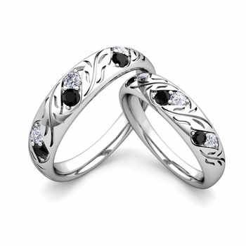 His and Hers Matching Wedding Band in 14k Gold: Black and White Diamond