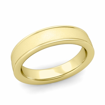 Satin Finish Wedding Band in 18k White or Yellow Gold Comfort Fit Band, 5mm