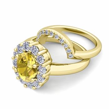 Diana Diamond and Yellow Sapphire Engagement Ring Bridal Set in 18k Gold, 9x7mm
