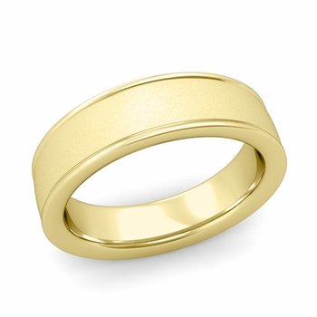 Satin Finish Wedding Band in 18k White or Yellow Gold Comfort Fit Band, 6mm