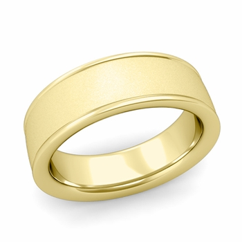 Satin Finish Wedding Band in 18k White or Yellow Gold Comfort Fit Band, 7mm