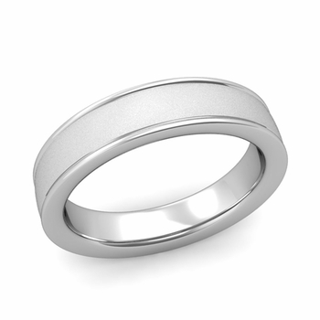 Satin Finish Mens Wedding Band in Platinum Comfort Fit Band, 5mm