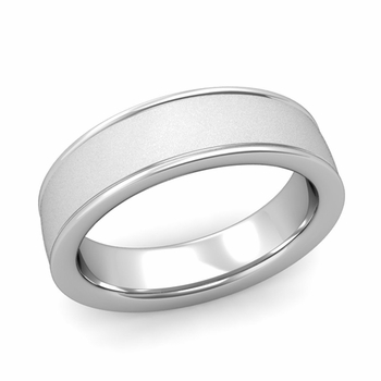 Satin Finish Mens Wedding Band in Platinum Comfort Fit Band, 6mm