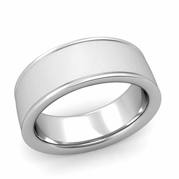 Satin Finish Mens Wedding Band in Platinum Comfort Fit Band, 8mm