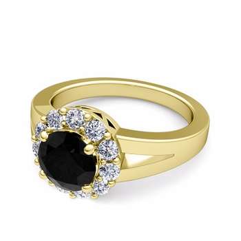 Black and White Diamond Halo Engagement Ring in 18k Gold, 7mm