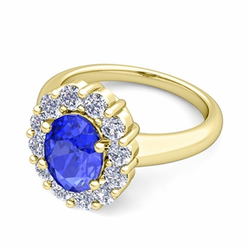 Halo Diamond and Ceylon Sapphire Diana Ring in 18k Gold, 9x7mm