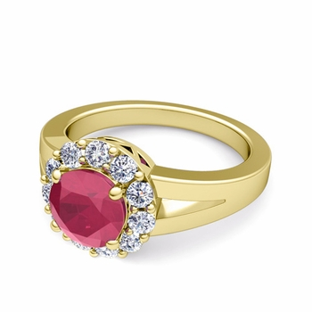 Radiant Diamond and Ruby Halo Engagement Ring in 18k Gold, 6mm