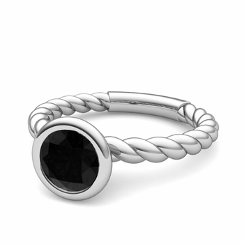 Bezel Set Solitaire Black Diamond Ring in 14k Gold Twisted Rope Band, 7mm