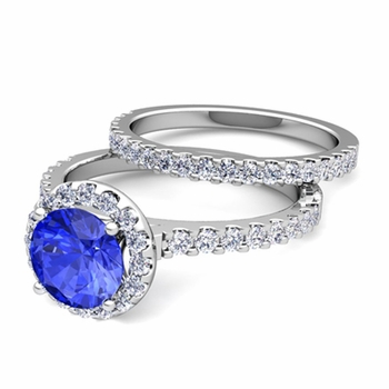 Bridal Set: Pave Diamond and Ceylon Sapphire Engagement Wedding Ring in Platinum, 7mm