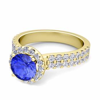 Two Row Diamond and Ceylon Sapphire Engagement Ring in 18k Gold, 6mm