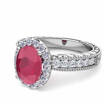 Vintage Inspired Diamond and Ruby Engagement Ring in 14k Gold, 7x5mm