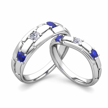 Matching Wedding Band: His and Hers Diamond Sapphire Wedding Ring in 14k Gold