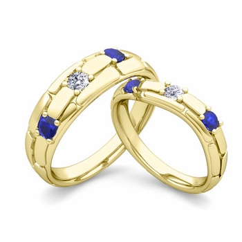 Matching Wedding Band: His and Hers Diamond Sapphire Wedding Ring in 18k Gold